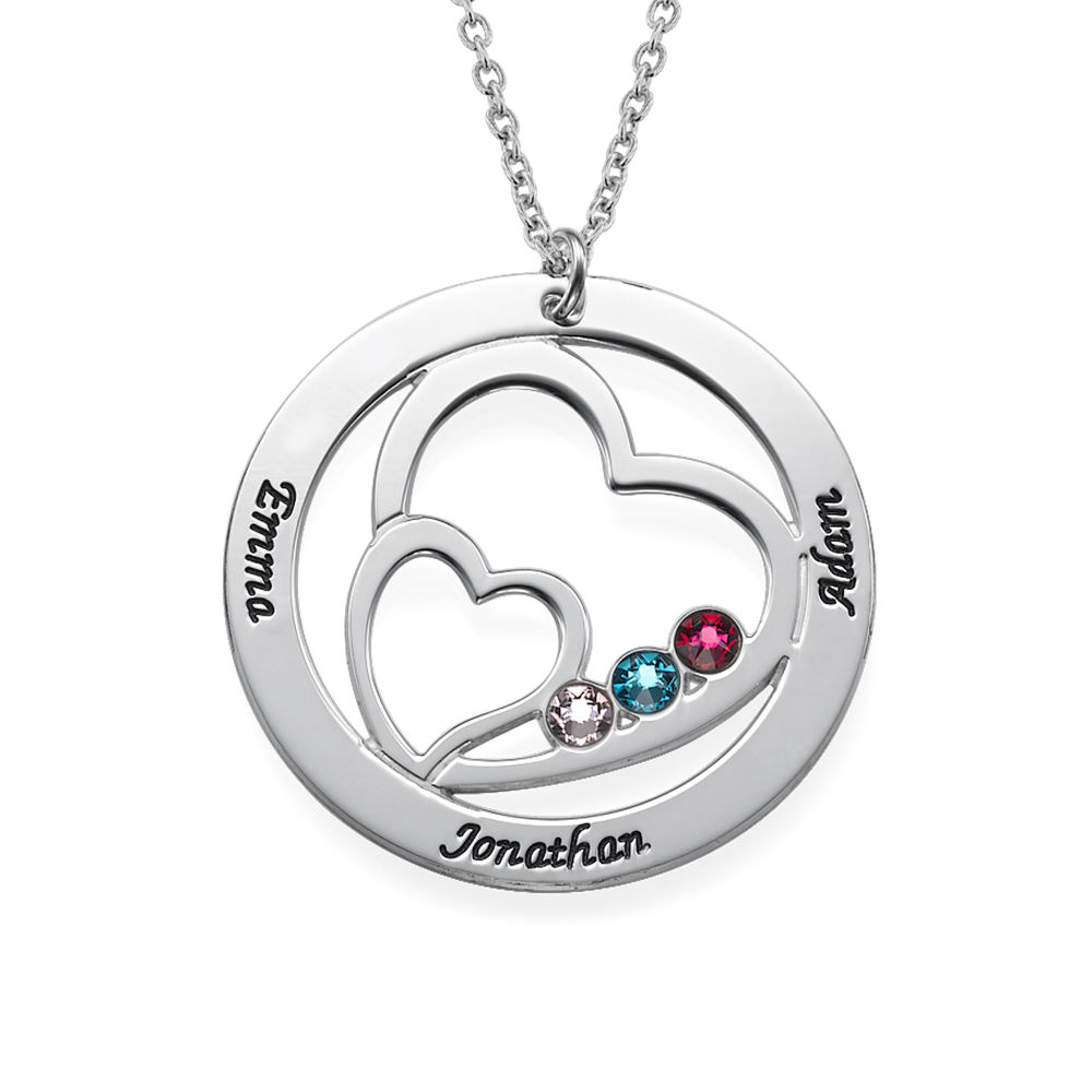 Heart in Heart Birthstone Necklace for Moms in Sterling Silver - 1