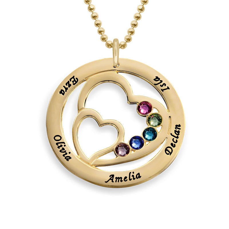 Heart in Heart Birthstone Necklace for Moms in 18k Gold Vermeil