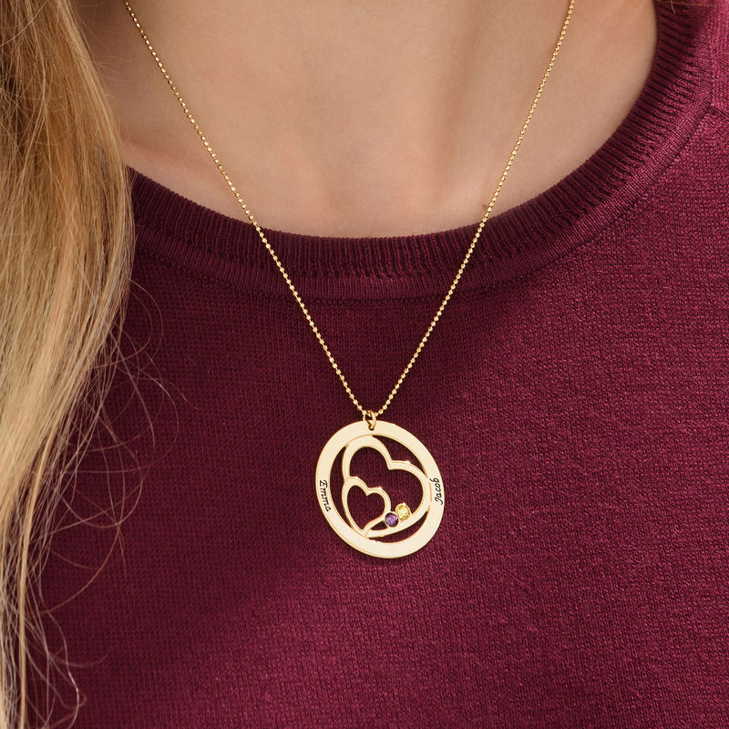Heart in Heart Birthstone Necklace for Moms in 18k Gold Vermeil - 2