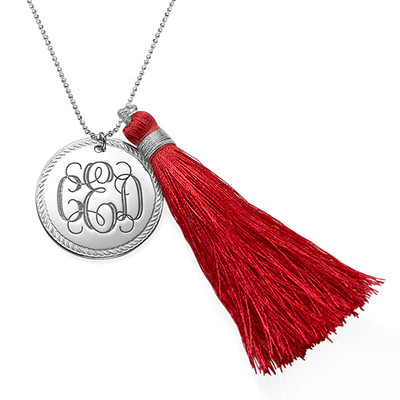 Tassel Jewelry - Silver Engraved Monogram Necklace