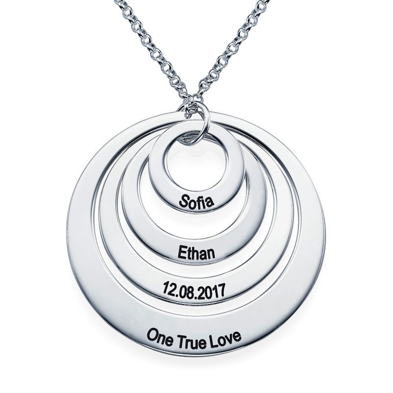 Four Open Circles Necklace with Engraving in Sterling Silver - 2