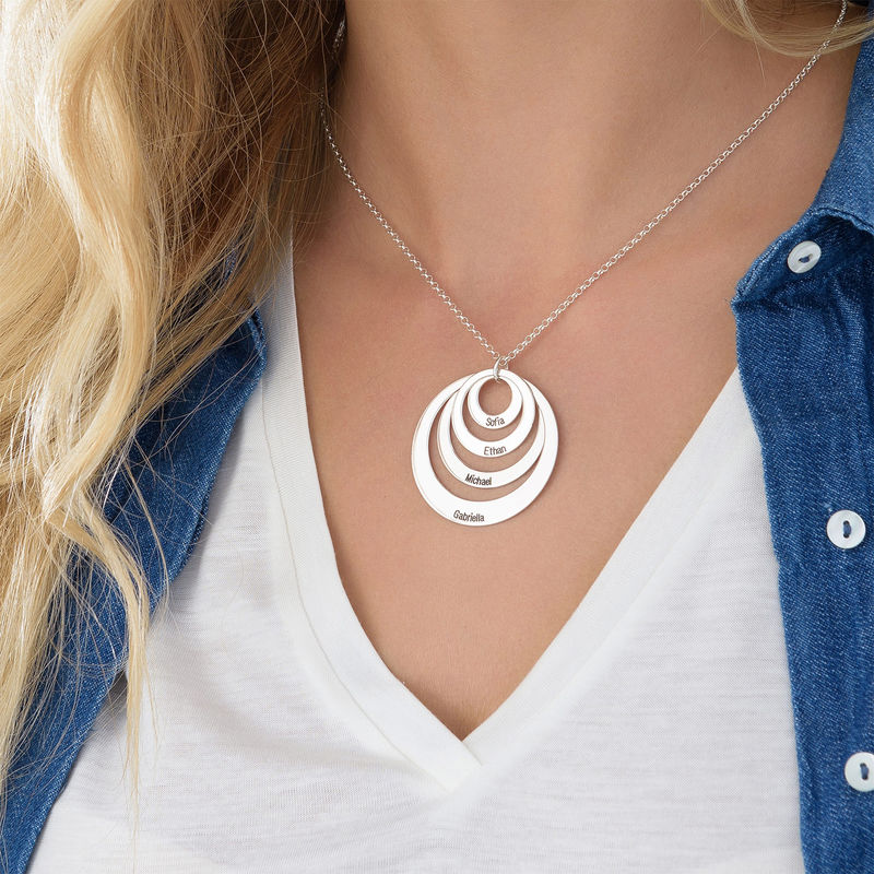 Four Open Circles Necklace with Engraving in Sterling Silver - 4