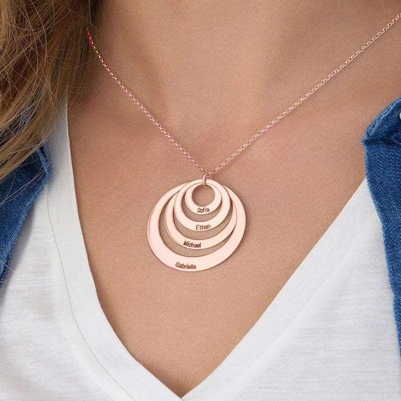 Four Open Circles Necklace with Engraving in Rose Gold Plating - 6