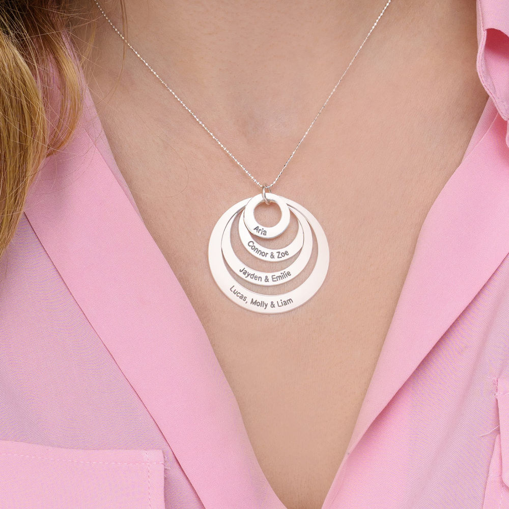 Four Open Circles Necklace with Engraving in 10K White Gold - 2