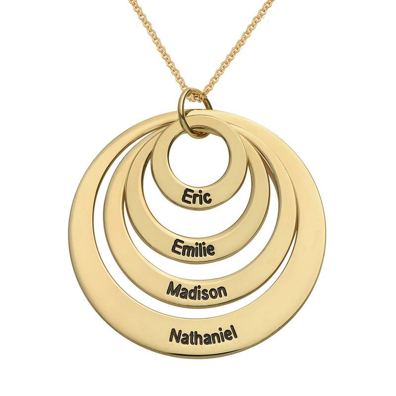Four Open Circles Necklace With Engraving In 18k Gold Vermeil