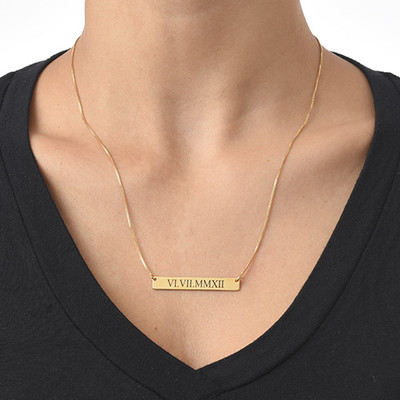Roman Numeral Bar Necklace with Gold Plating - 1