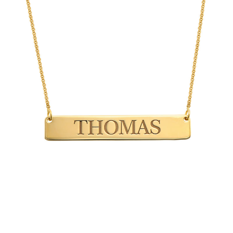 Engraved Bar Necklace in 18k Gold Vermeil
