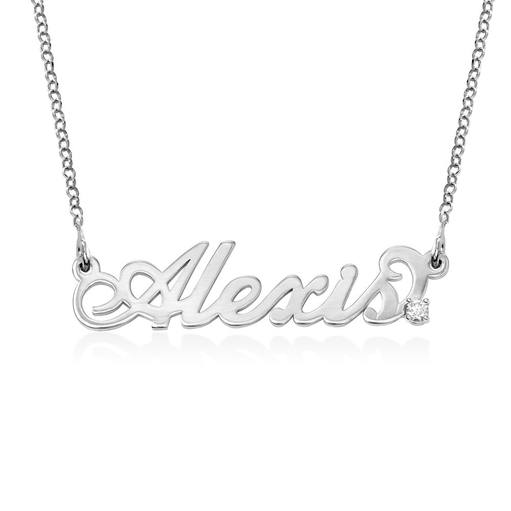 Small Sterling Silver Carrie Style Name Necklace with Diamond