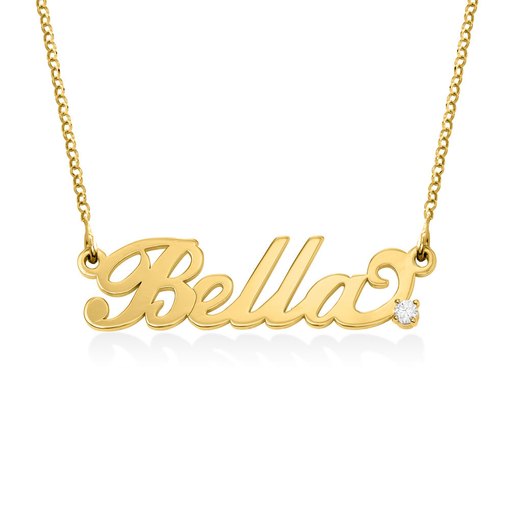 Small 18k Gold-Plated Silver Carrie Name Necklace with Diamond