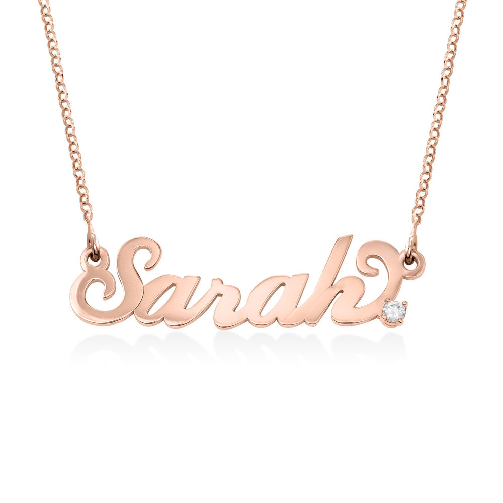 Small Rose Gold Carrie Name Necklace with Diamond