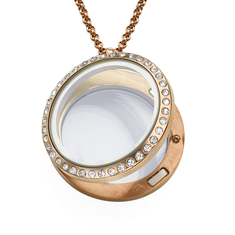 Round Locket in Rose Gold Plating with Crystals - 1