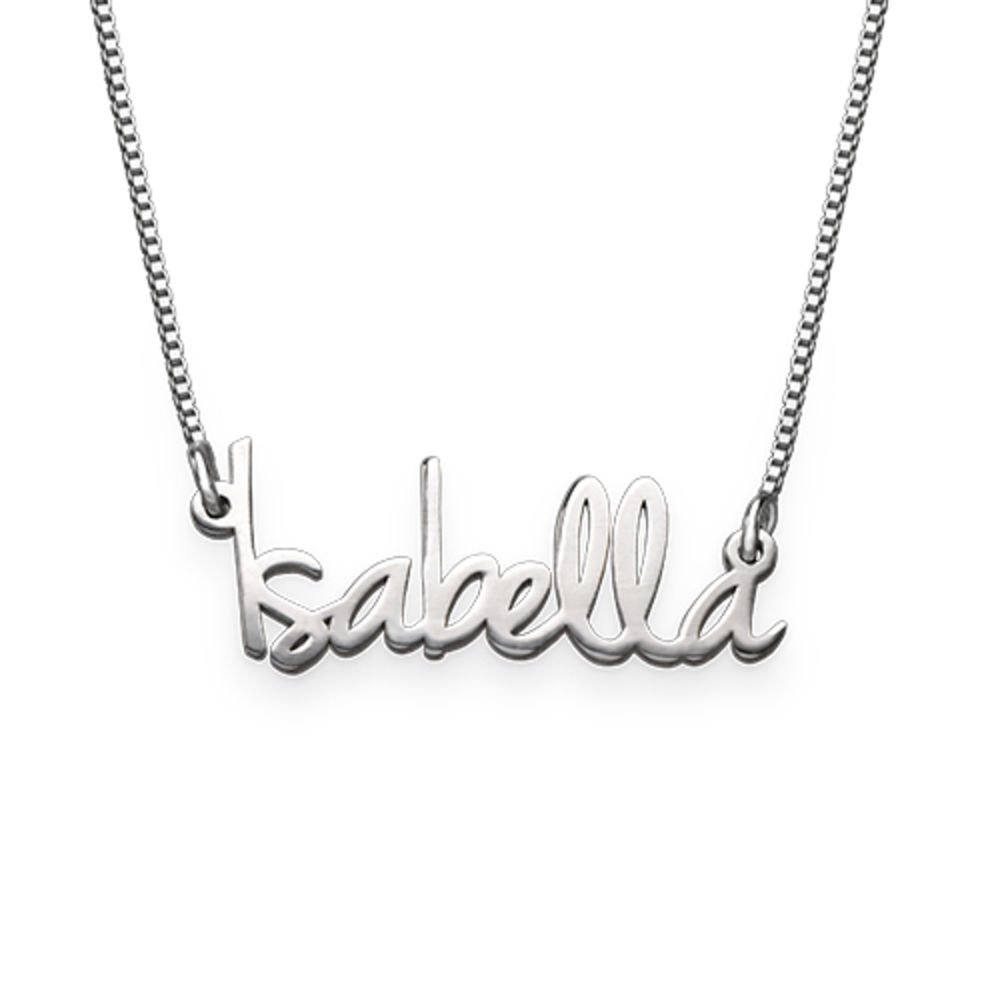 Tiny Name Necklace for Women in Extra Strength Silver