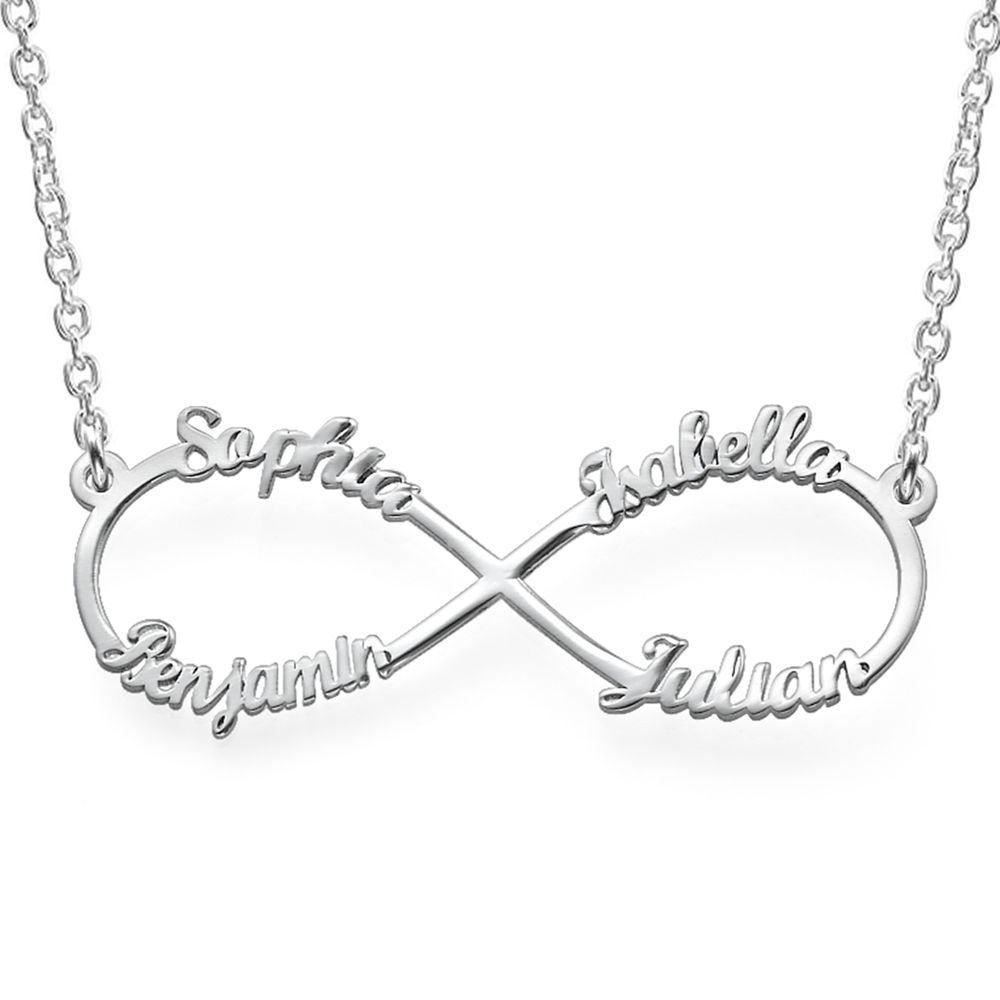 Infinity 4 Names Necklace in 940 Premium Silver