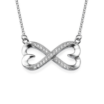 Heart Infinity Necklace with Cubic Zirconia