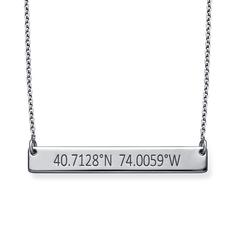 Engraved Coordinates Bar Necklace in Silver