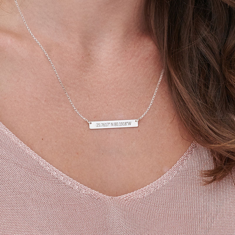 Engraved Coordinates Bar Necklace in Silver - 2