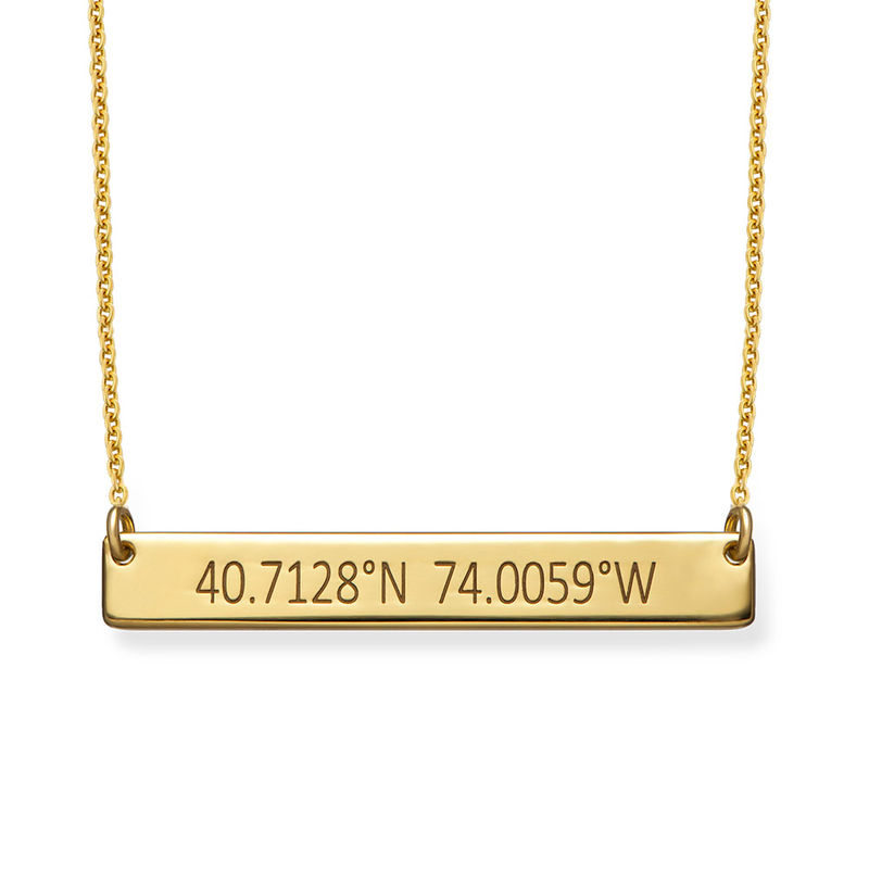 Engraved Coordinates Bar Necklace