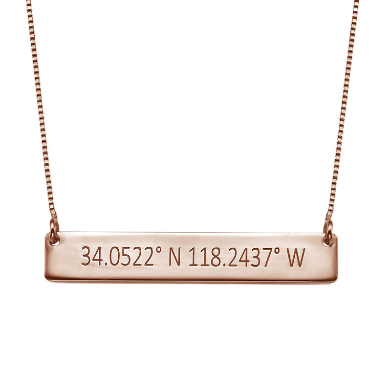 Engraved Coordinates Bar Necklace - Rose Gold Plating