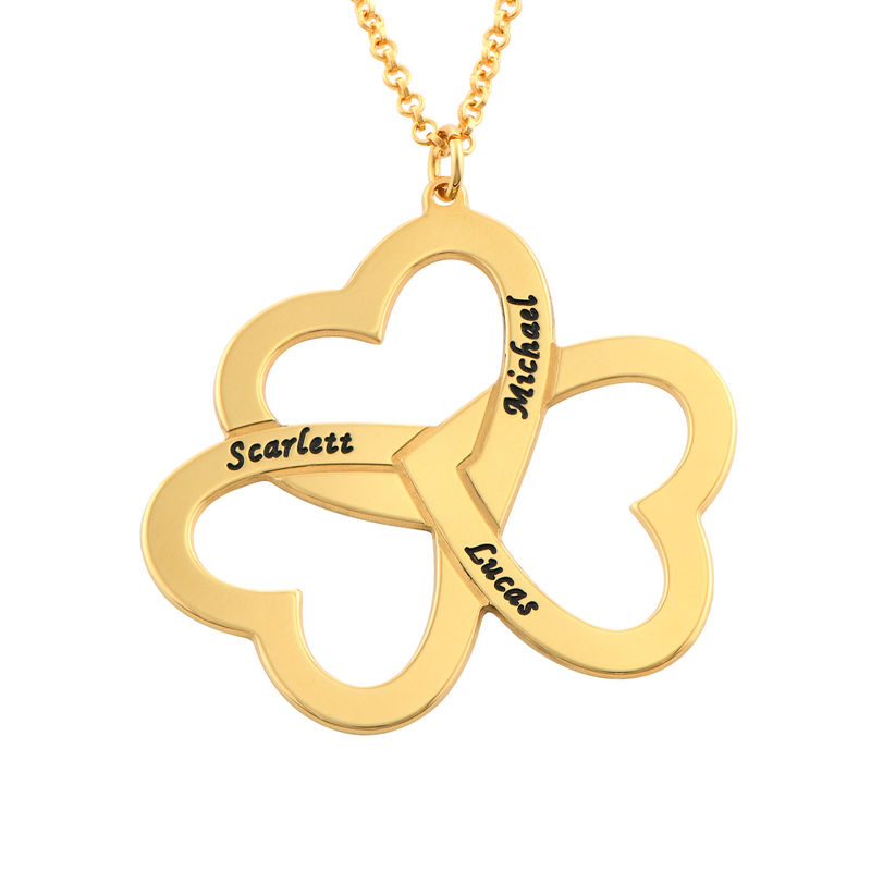 Personalized Triple Heart Necklace in Gold Plating