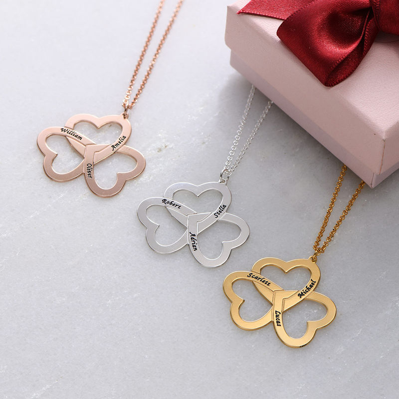 Personalized Triple Heart Necklace in Rose Gold Plating - 1