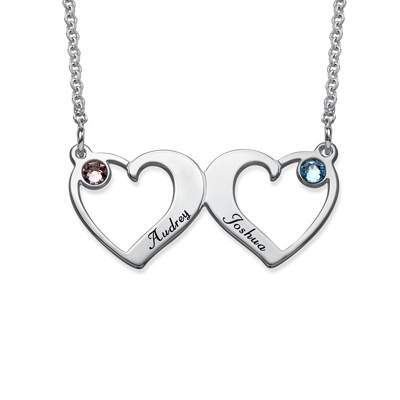 Side By Side Hearts Necklace with Birthstones