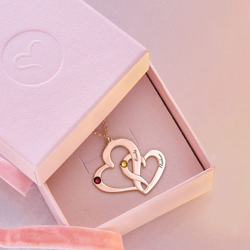 Engraved Two Heart Necklace with Rose Gold Plating - 5