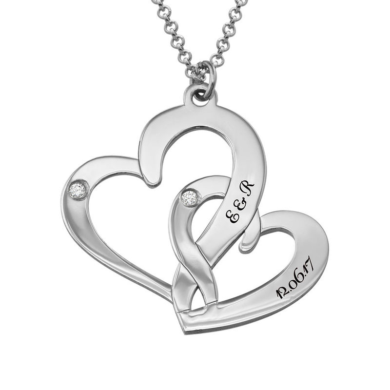 Engraved Two Heart Necklace Sterling Silver with Diamonds - 1
