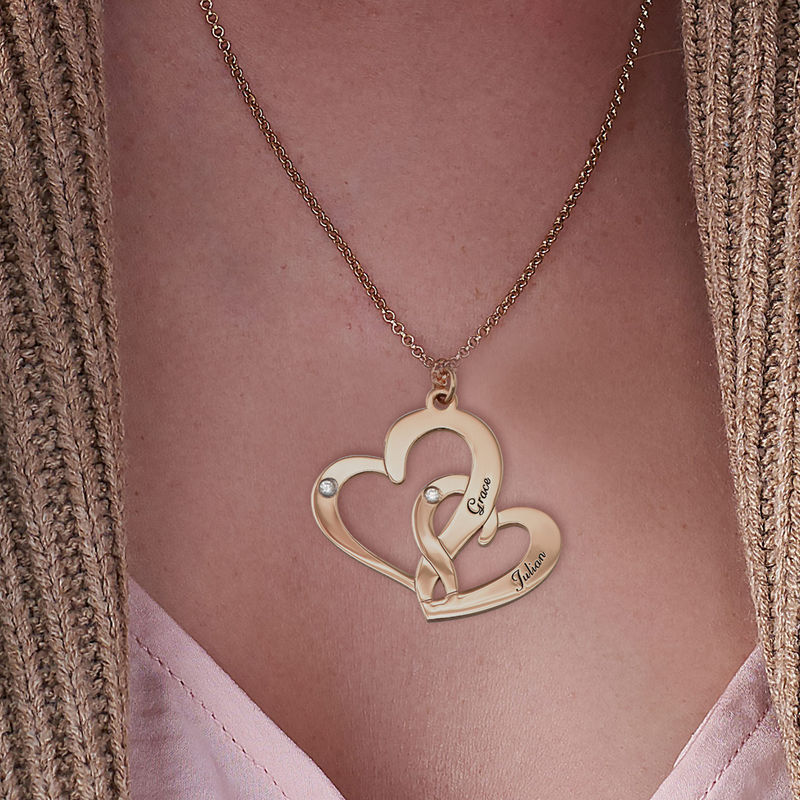 Engraved Two Heart Necklace Gold Plated  with Diamonds - 2