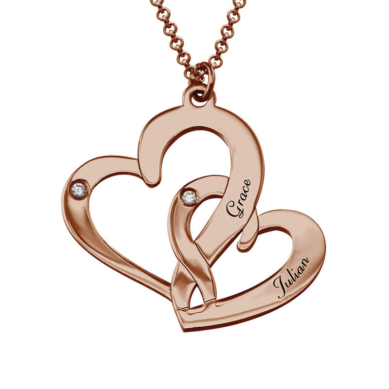 Engraved Two Heart Necklace Rose Gold Plated  with Diamonds