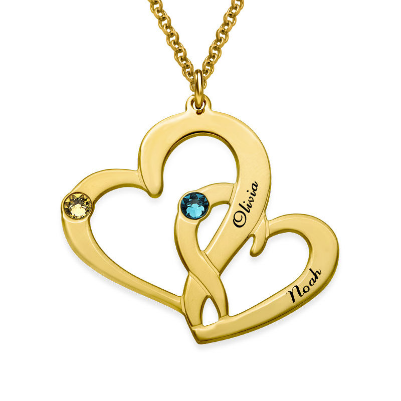 Engraved Two Heart Necklace in 18k Gold Vermeil
