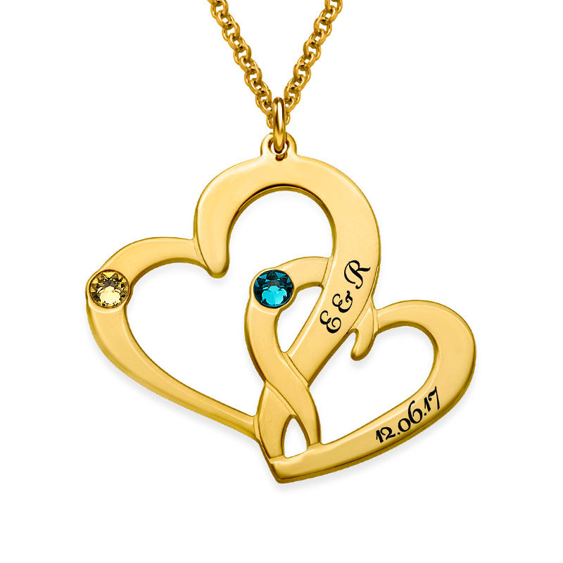 Engraved Two Heart Necklace in 18k Gold Vermeil - 1