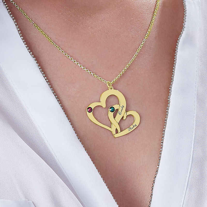Engraved Two Heart Necklace in 18k Gold Vermeil - 3