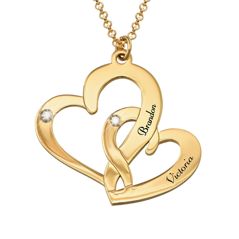 Engraved Two Heart Necklace with Diamonds in 18k Gold Vermeil