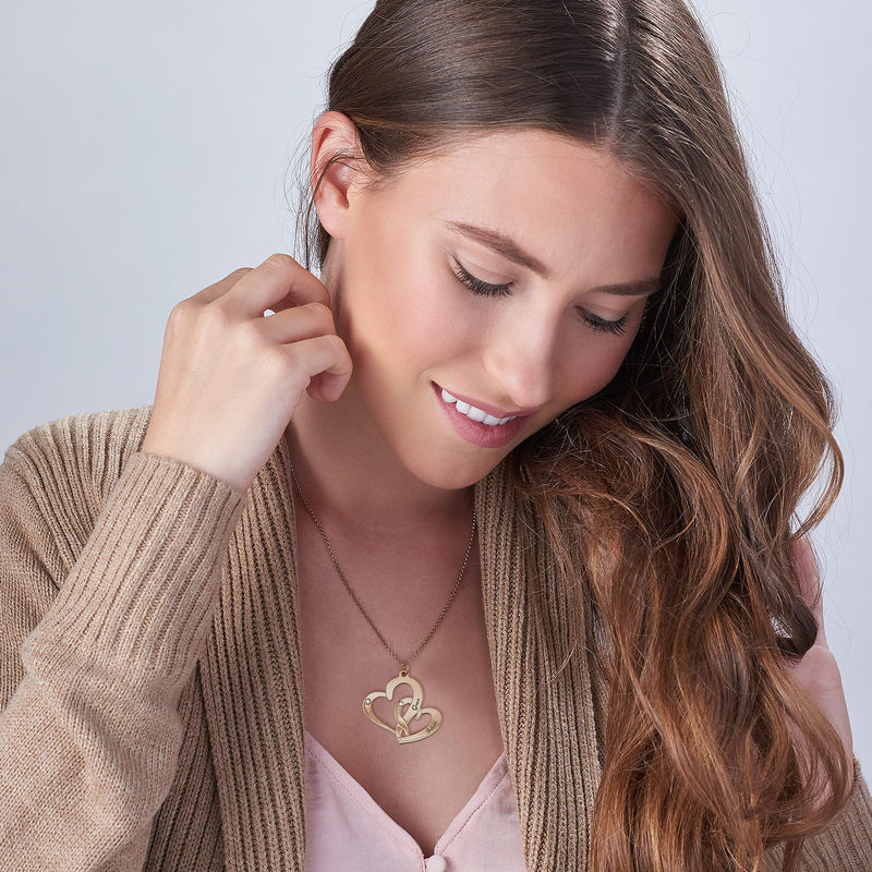Engraved Two Heart Necklace with Diamonds in 18k Gold Vermeil - 1