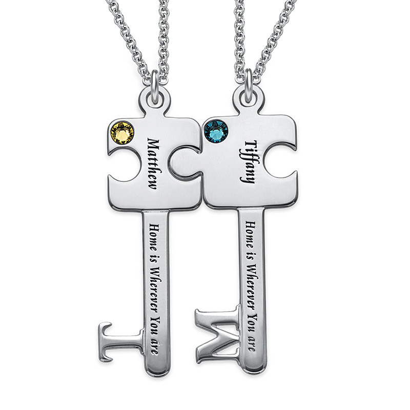Personalized Puzzle Key Necklace Set in Sterling Silver
