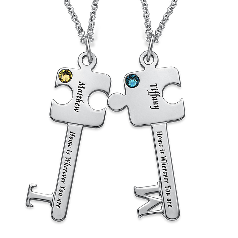 Personalized Puzzle Key Necklace Set in Sterling Silver - 1