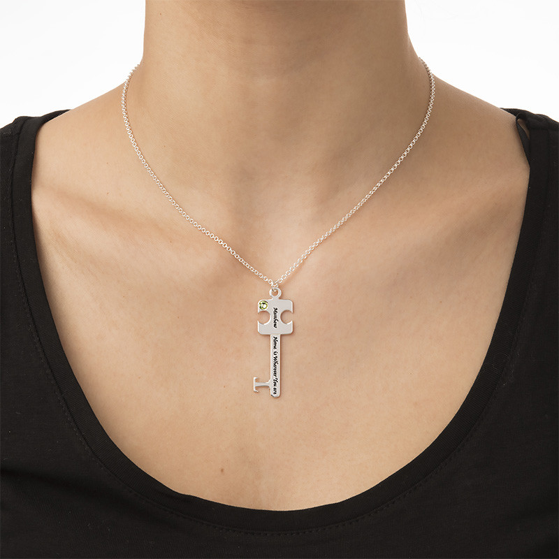 Personalized Puzzle Key Necklace Set in Sterling Silver - 3