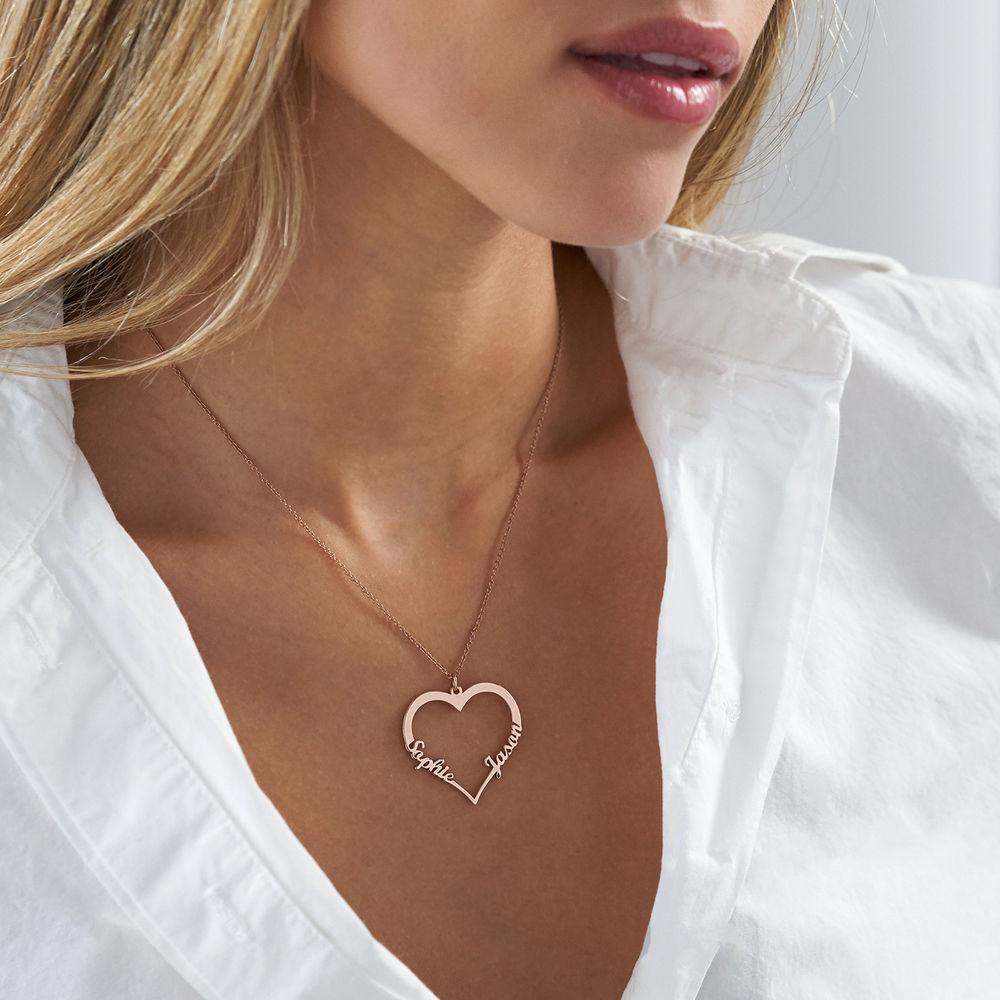 18k Rose Gold Plated Heart Necklace - 1