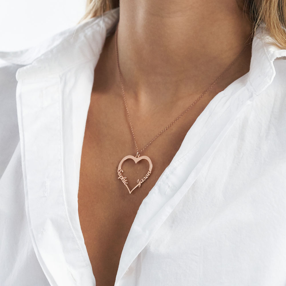 18k Rose Gold Plated Heart Necklace - 2