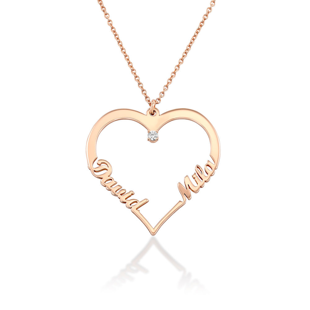 Heart Necklace in Rose Gold Plating with Diamond