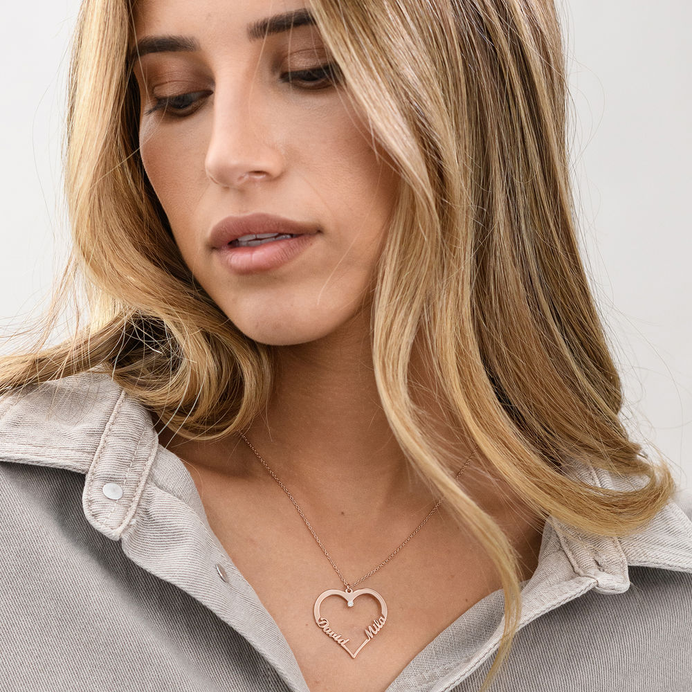 Heart Necklace in Rose Gold Plating with Diamond - 1