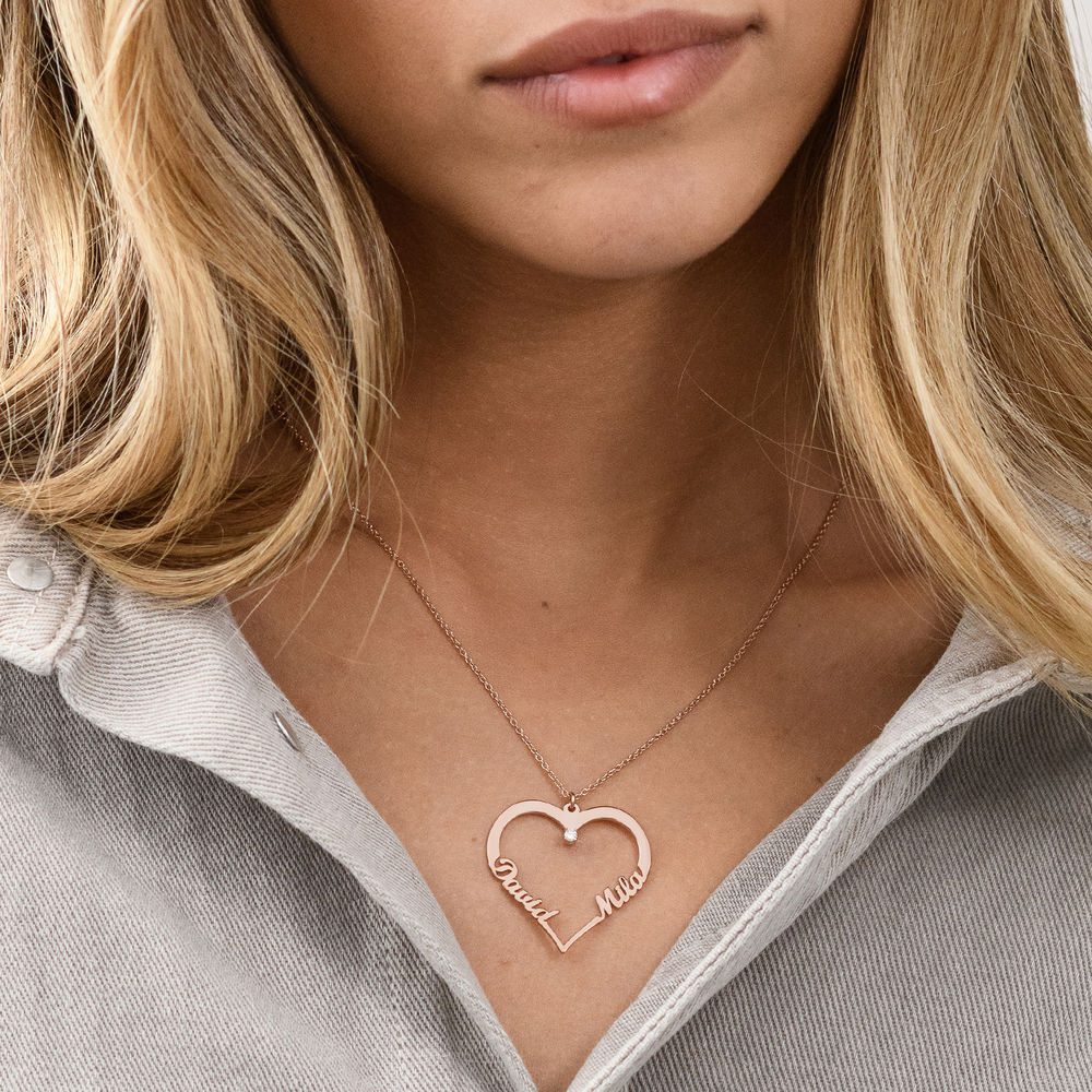 Heart Necklace in Rose Gold Plating with Diamond - 2