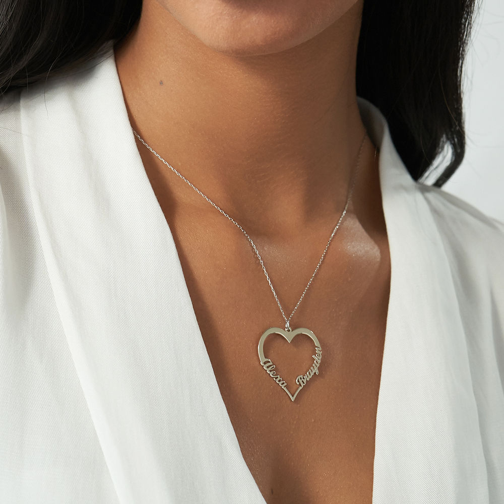 10k White Gold Heart Necklace - 1