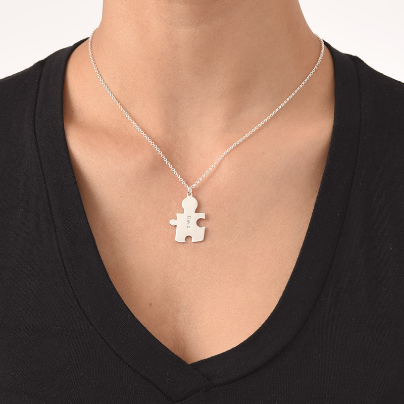 Puzzle Necklaces for Couple's in Sterling Silver - 4