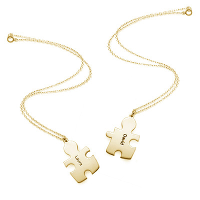 18k Gold Plated Silver Couple's Puzzle Love Necklaces - 3