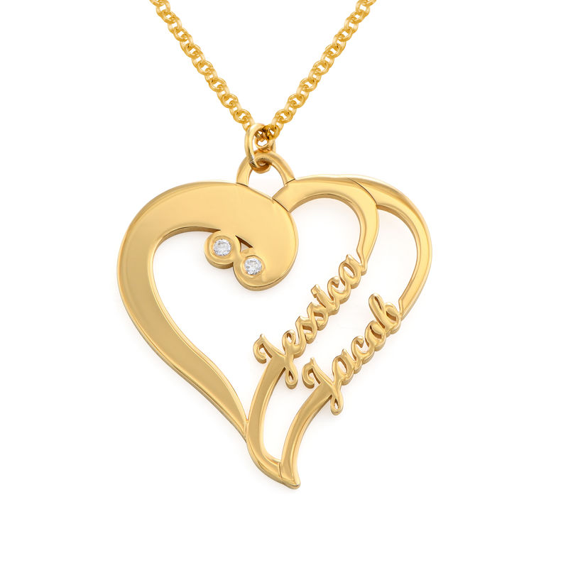 Two Hearts Forever One Necklace with Diamond in Gold Plating