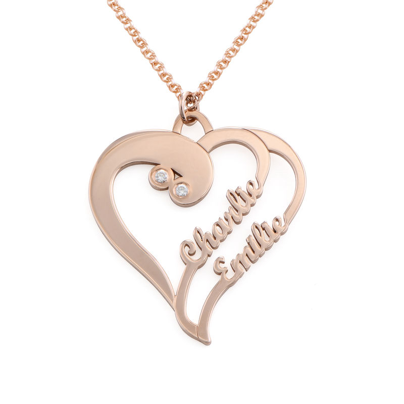 Two Hearts Forever One Necklace with Diamond in Rose Gold Plating