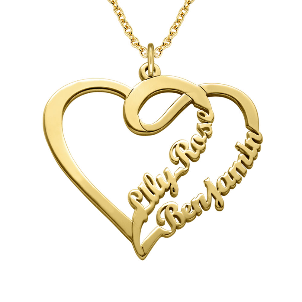 Couple Heart Necklace with Gold Plating