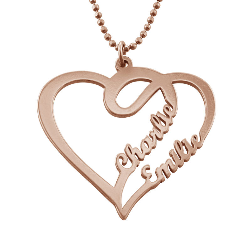 Couple Heart Necklace in Rose Gold Plated