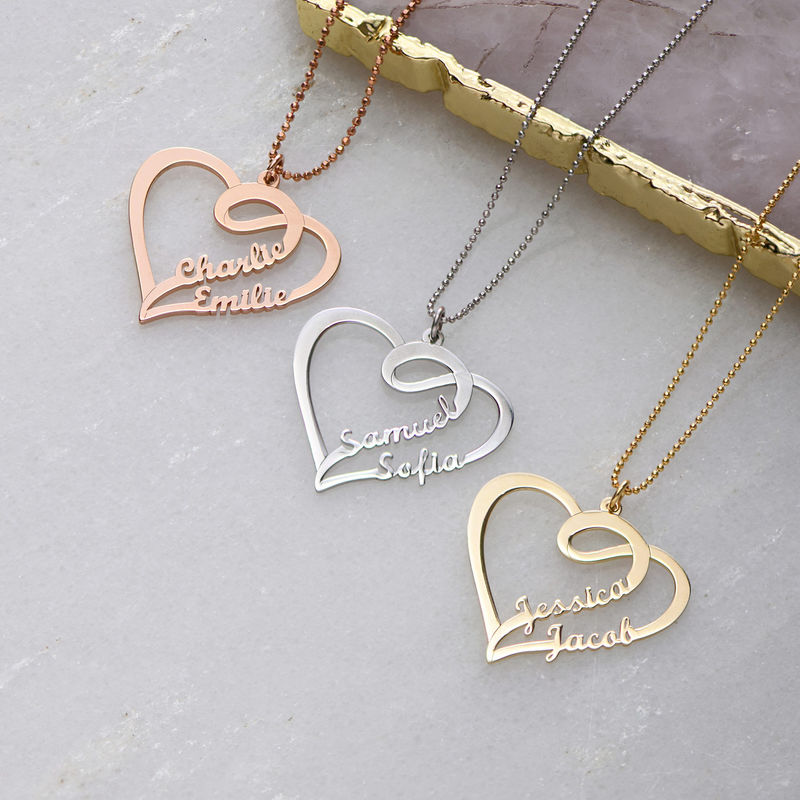 Couple Heart Necklace in Rose Gold Plated - 1